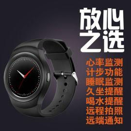 K8智慧手表MTK2502c全圓IPS屏藍牙4.0心率監測帶SIM卡通話手表