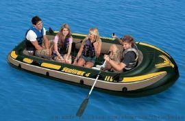 海鹰充气船4人船3.5米皮划艇钓鱼船冲浪板漂流船