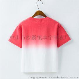 夏装新款女式纯棉磨毛T恤外贸吊染套头短袖衫