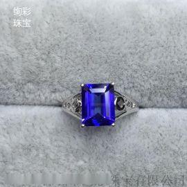 绚彩珠宝八角长方坦桑石戒指 简单款式主石2.1克拉