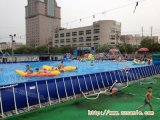 河北移动支架游泳池水上游乐设备三角滑梯