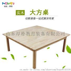【幼教八人桌】山東厚樸 幼兒園橡木大方桌 幼兒園桌椅組合套餐