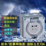 防暴雨插座正品RAODDER户外防水插座56SO310新国标二三插五孔10A