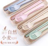 厂家新款小麦秸秆儿童餐具筷叉勺子三件套 防烫防摔 麦秸秆可降解材质 环保无伤害