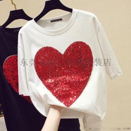 贵阳便宜服装女士T恤夏季短袖韩版大版T恤库存服装
