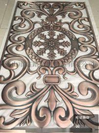 南通书房无缝焊接红古铜拉丝不锈钢镂空雕花屏风