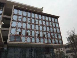 木紋仿古鋁合金窗花-鋁方管型材焊接防盜鋁窗花