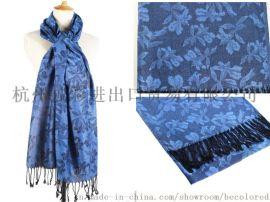 披彩H01真絲羊毛提花金絲圍巾