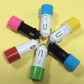 汽车用品车载充电器 双usb车充 2A平板手机通用多色可选