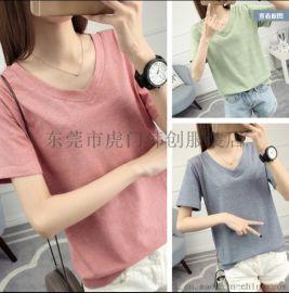 便宜短袖T恤纯棉t恤韩版女士上衣库存服装女式T恤