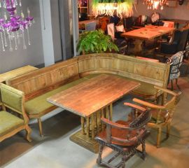 胡桃裏音樂餐廳酒吧全套家具定制 復古做舊轉角沙發卡座