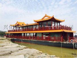 楚风木船出售 16米豪华餐饮船  电动观光船 商务会议船