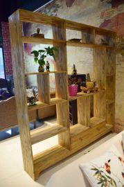 胡桃里音乐餐厅繁花酒吧LOFT铁艺实木置物架客厅餐厅隔断书架置物架格架