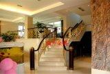 高端定制铝艺雕花镂空整体弧形金色楼梯护栏,铝雕花护栏、成品楼梯