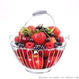 圆形水果篮铁线工艺手提果篮半圆水果框厨房置物架家居户外均可