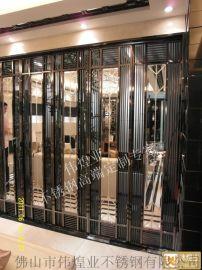 后现代风格黑钛金客厅不锈钢屏风装饰玄关门时尚定制