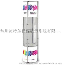 折叠促销台圆形可折叠展柱高档展示柜促销展示架广告柜台展架