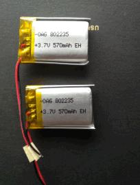 聚合物锂电池802235-570毫安记录仪蓝牙音响数码相框等