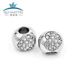 diy饰品配件不锈钢优质手链串珠 钛钢动物马头铸造空心大孔珠子