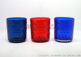 玻璃烛台喷色鱼鳞烛杯批发 耐用喷色鱼鳞玻璃烛杯供应 优质玻璃杯 可定制