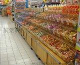 大沣DF-177精品超市货架展柜进口凉果食品进口商品铁木结合货架尺寸层高