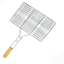 批发不粘喷漆烧烤方形网片 六汉堡烤网 木柄烧烤bbq网夹烧烤用具