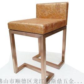 定做高檔拉絲不鏽鋼吧椅/商場前臺椅珠寶椅/櫃臺椅營業廳椅