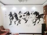 办公室墙画画BGS-1 南京彩绘八骏图黑白色