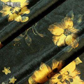 广德隆YH208 涤氨弹力闪光绒秋冬保暖鲜花大花碎花植物印花面料 家庭装饰桌布台布套罩 礼服裙子裤子外套上衣大衣居家休闲服装