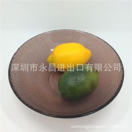 厂家直销玻璃圆盘彩色玻璃水果盘透明玻璃餐盘