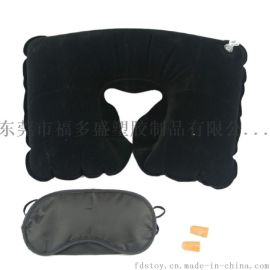环保PVC充气植绒枕 充气U型植绒枕 充气旅行枕