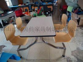 不锈钢脚弯木连体餐桌椅, 鸿美佳家具厂家加工定做不锈钢脚连体弯木餐桌椅