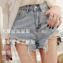 夏季2018新款高腰牛仔短裤女 薄款学生韩版收腰牛仔短裤时尚破洞牛仔短裤便宜批发