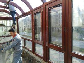 泰州市貝科利爾高檔弧形頂構件式鋁包木陽光房