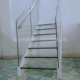 雙邊鋼板鋼化玻璃踏板直線式樓梯不鏽鋼扶手