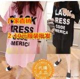 广州沙河最便宜服装T恤批发清货处理女装短袖纯棉t恤