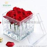 七彩云有机玻璃玫瑰花盒透明带盖收纳箱 鲜花包装盒