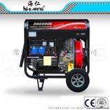 5KW开架220V风冷发电机,发电机带10寸大轮子,工地专用柴油发电机
