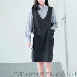 日韩新款 时尚纯色V领宽松大码牛仔外穿背心裙【免费加盟一件代发】