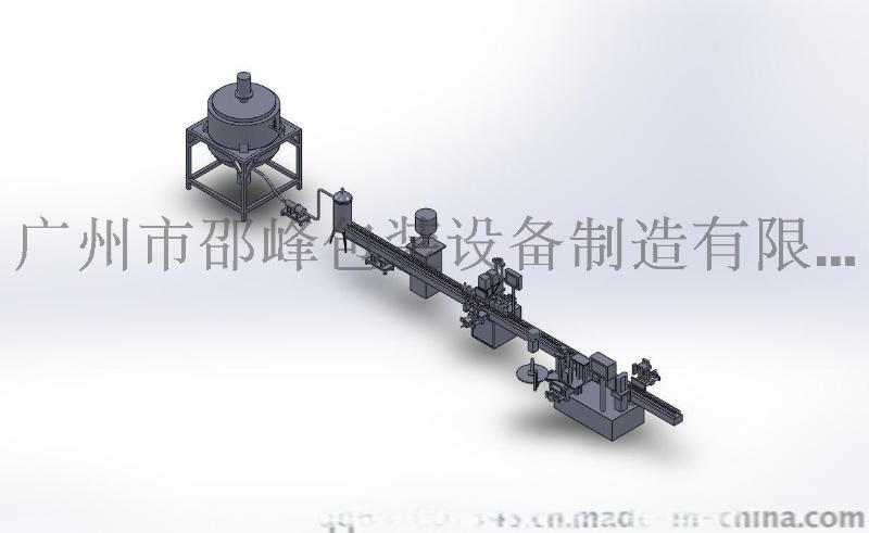 全自动灌装生产线 适用于液体、膏体 含灌装、贴标、锁盖