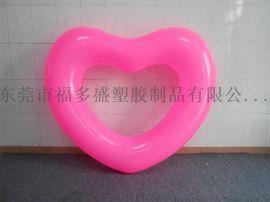廠家訂做PVC充氣愛心泳圈  粉紅心形泳圈