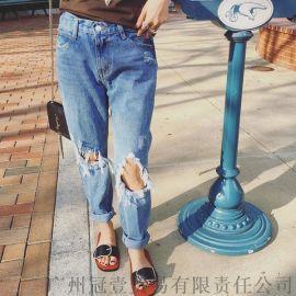 夏季乞丐破洞裤 韩版街头风小脚牛仔裤哈伦长裤【外贸女装现货批发】