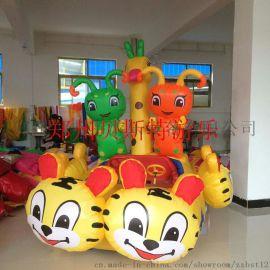 河南郑州新密市充气电瓶车造型精巧彩灯绚丽很好玩
