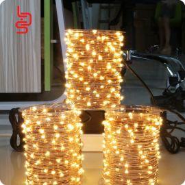 廠家定制10米100燈led銅線燈串24鍵遙控