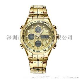 男士休闲运动手表时尚三眼电子表