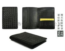 旅行便携头层平纹牛皮编织款护照包
