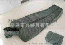 廠家直銷防水牛津面料軍綠色大衣式戶外野營睡袋 信封帶帽睡袋
