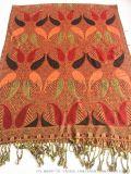 披彩F01提花人棉晴纶围巾