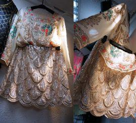 刺绣钉珠闪光珍珠亮片裙衫套装