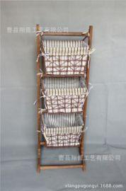 復古室內收納架書報架帶筐編織